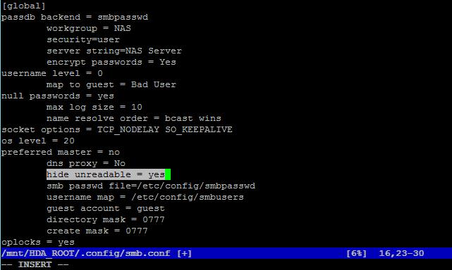 ABE (access based enumeration) mit QNAP NAS, Verstecken von
