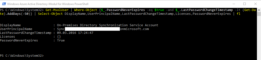 Find users in Azure AD or Office365 with password never