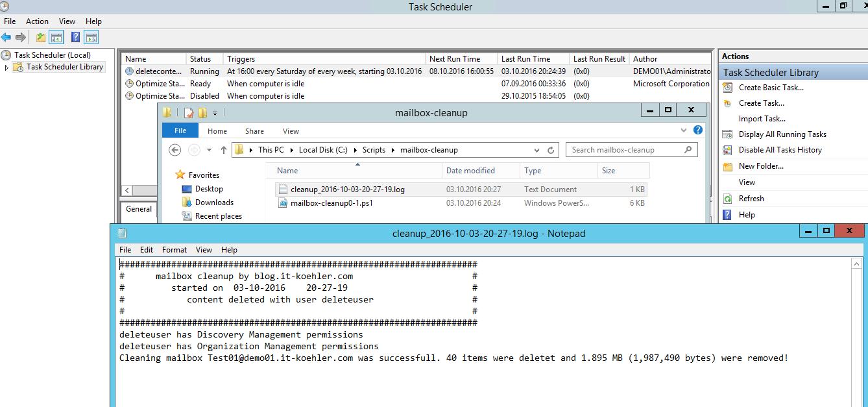 Cleanup Exchange mailbox via scheduled task (Exchange 2013