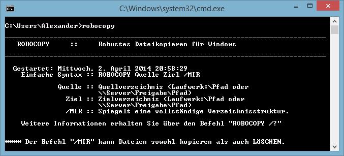 Robocopy kopieren / synchronisieren und Log erstellen mit aktuellem Datum