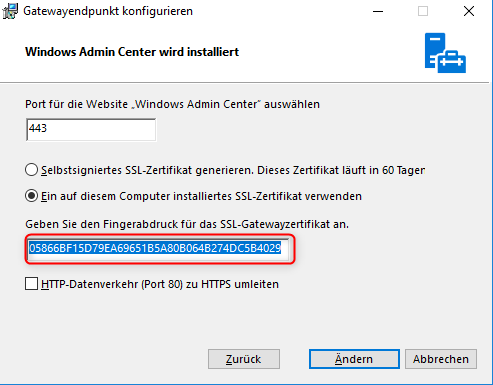 Windows Admin Center 1809 install and distribute selfsigned